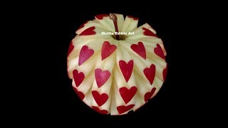 Repeat youtube video Apple Beautiful Heart Unique Design - Int Lesson 14 By Mutita Art Of Fruit And Vegetable Carving