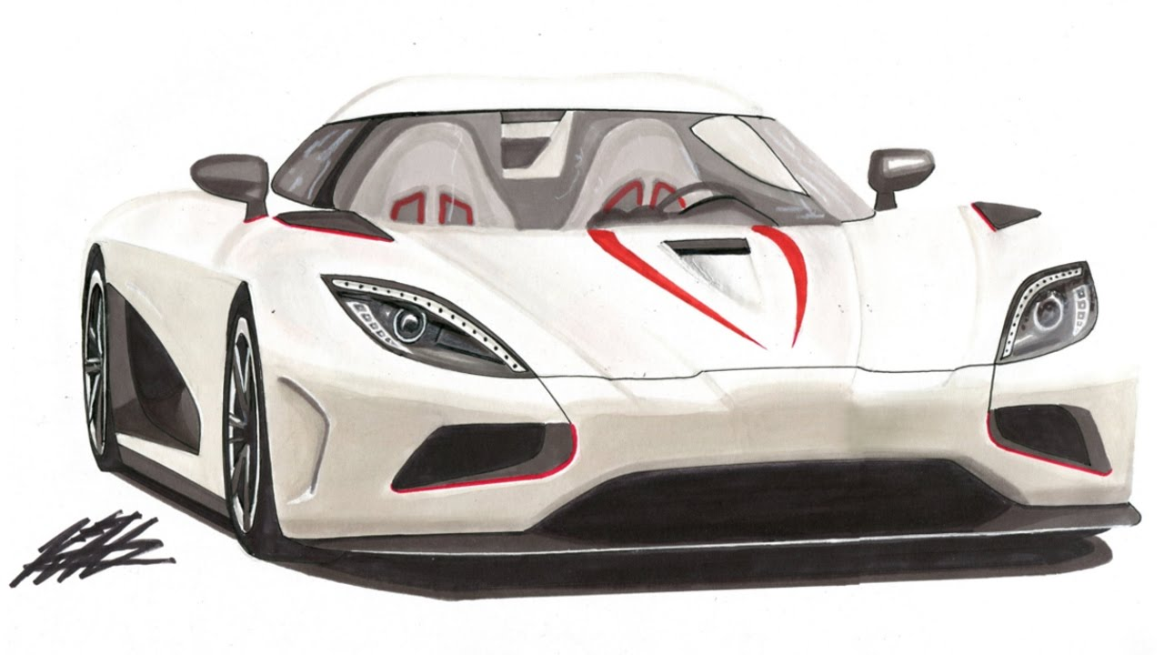 Realistic Car Drawing - Koenigsegg Agera R - Time Lapse - YouTube
