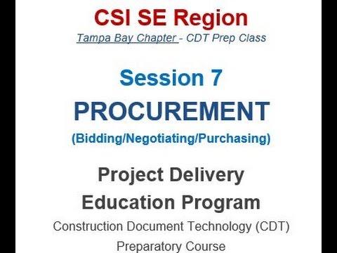CDT Exam Prep Training Session 07 Procurement February 09, 2016