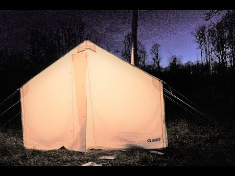 Winter Hot Tent Overnighter - Wood Stove Cooking - Bushcraft