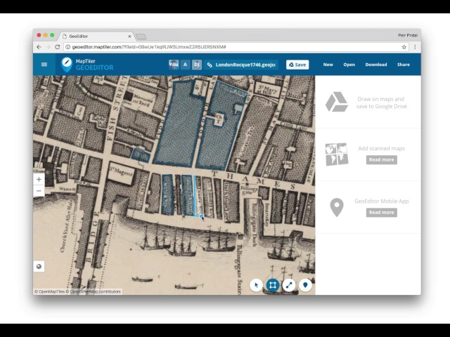 Online drawing tools in GeoEditor web application – MapTiler