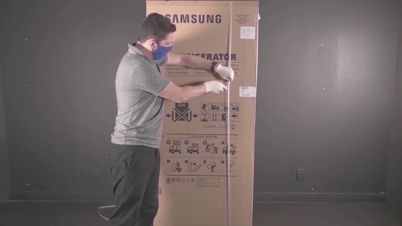 Samsung | Refrigeradores | Instalação inicial: Desembalando o seu refrigerador Top Mount