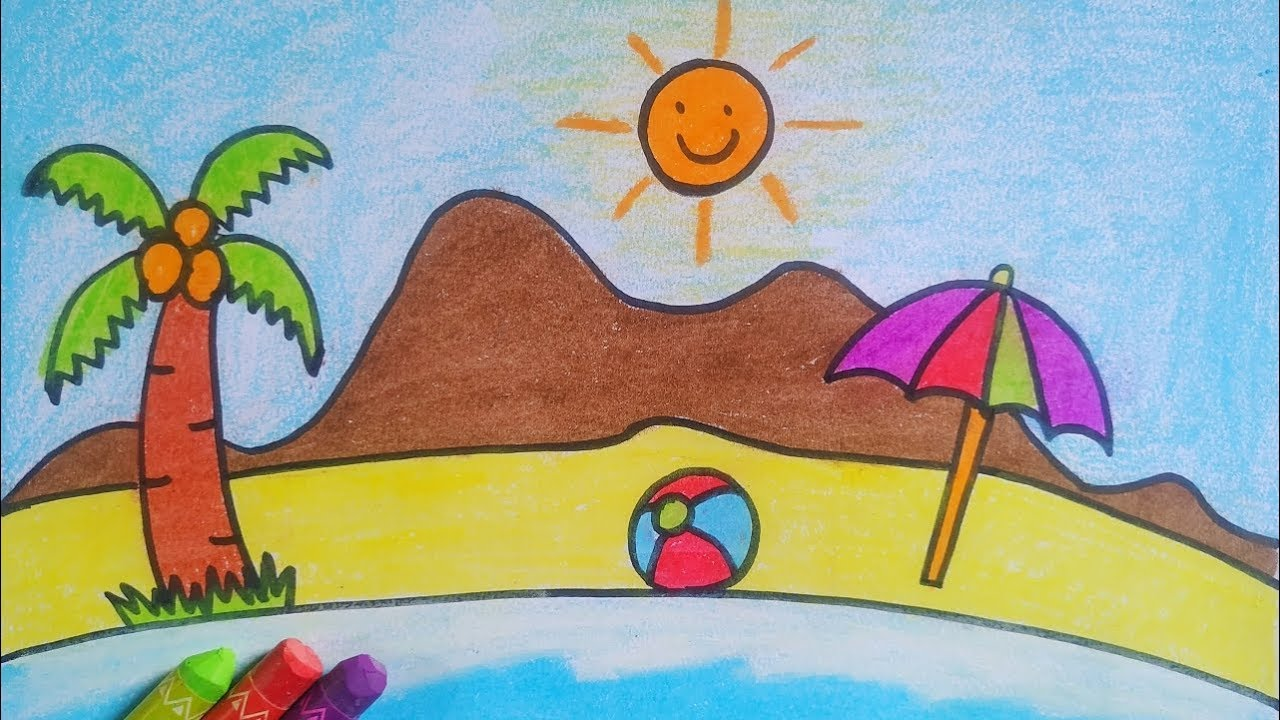 Summer beach drawing for kids / easy drawing - YouTube