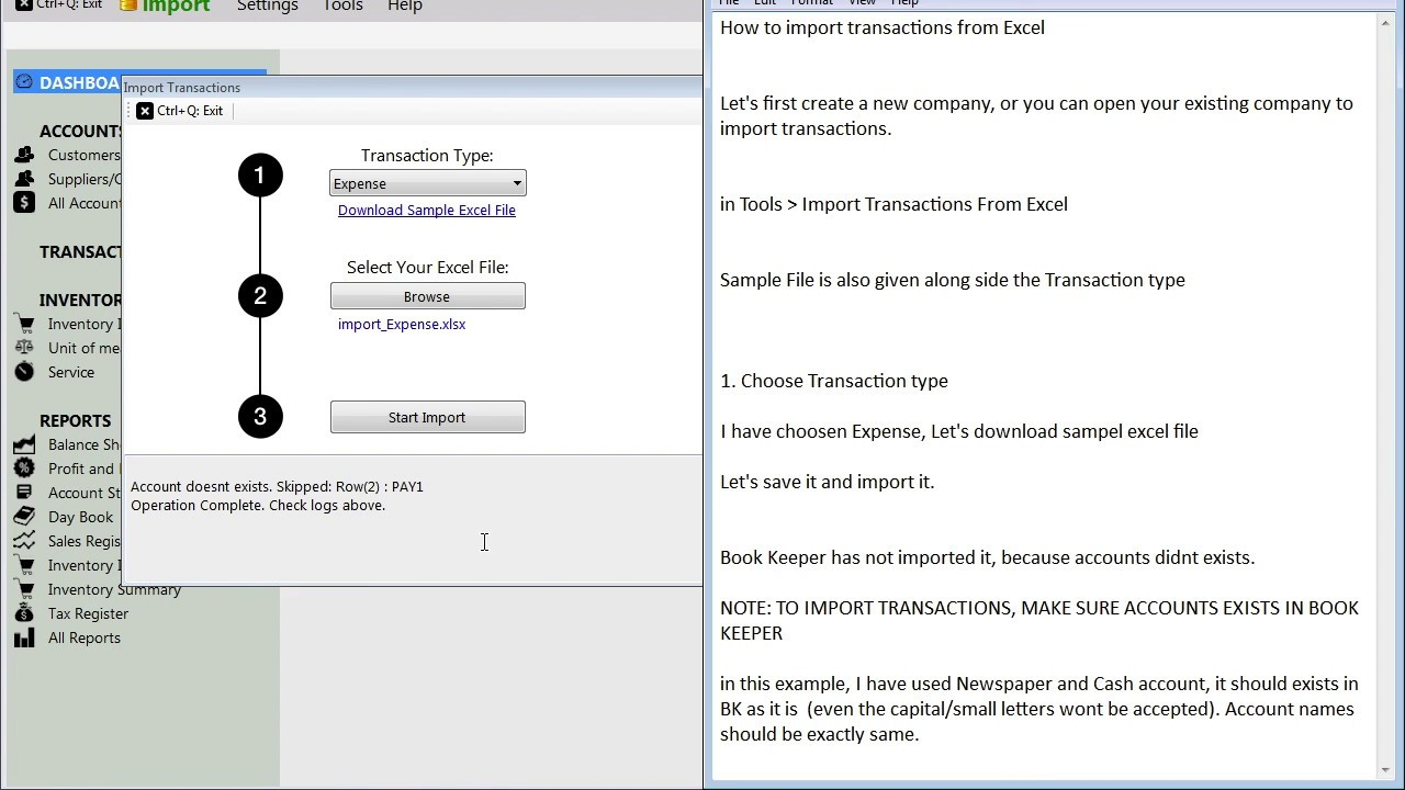 Import Transactions From Excel In Book Keeper Windows Import - Import invoices from excel to quickbooks for service business