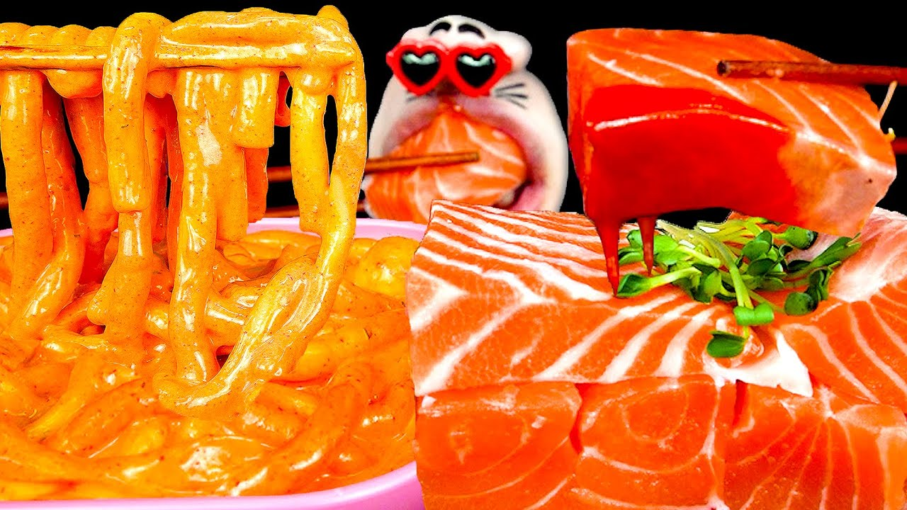 ASMR MUKBANG :) Raw Salmon & Spicy Rosé Tteokbokki EATING SHOW!