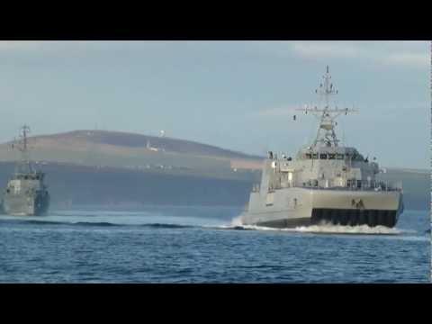 Scapa Flow Orkney Islands fleet leaving the harbour October 2012