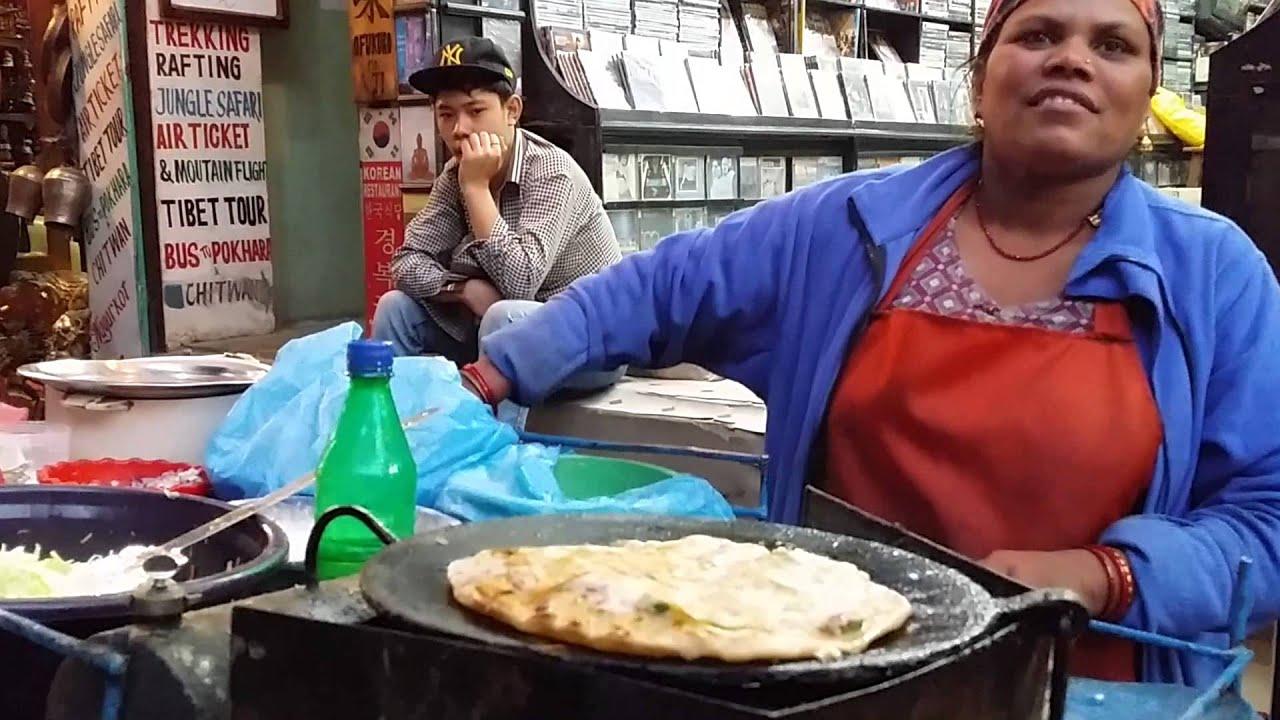 Nepali Pancake Street Vendor at Kathmandu, Nepal. Nov 2013