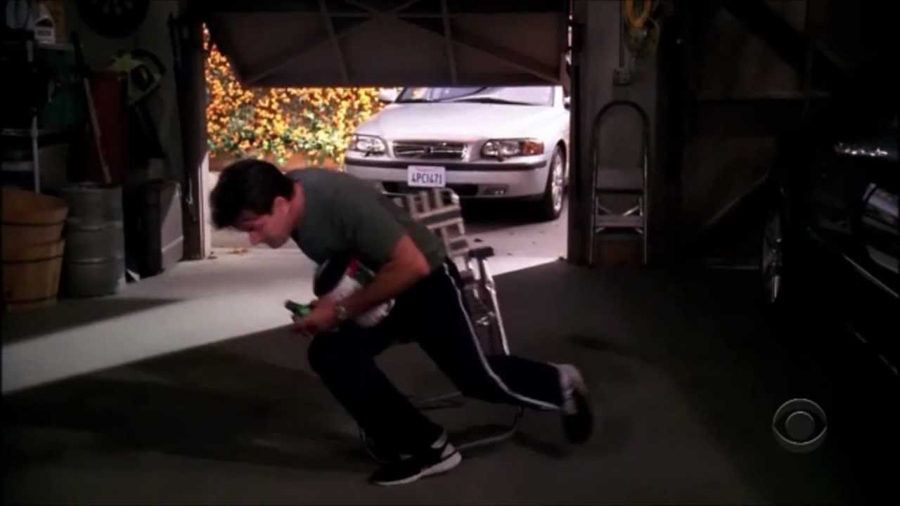 Two and a half men drinking in the garage hd youtube for Two and a half car garage