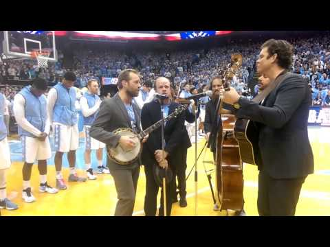 Steep Canyon Rangers sing the National Anthem at the Carolina vs. Duke game 17 February 2016