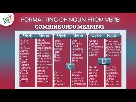 How To Change A Verb Into A Noun Formation Of Noun From Verb Kids Vocabulary Youtube