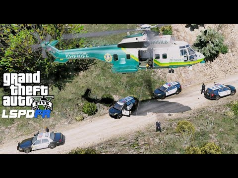 GTA 5 LSPDFR Police Mod #606 LASD Super Puma Rescue Helicopter Providing Air Support To Ground Units