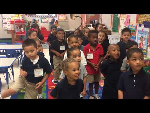 Pre-K reciting their vowels.