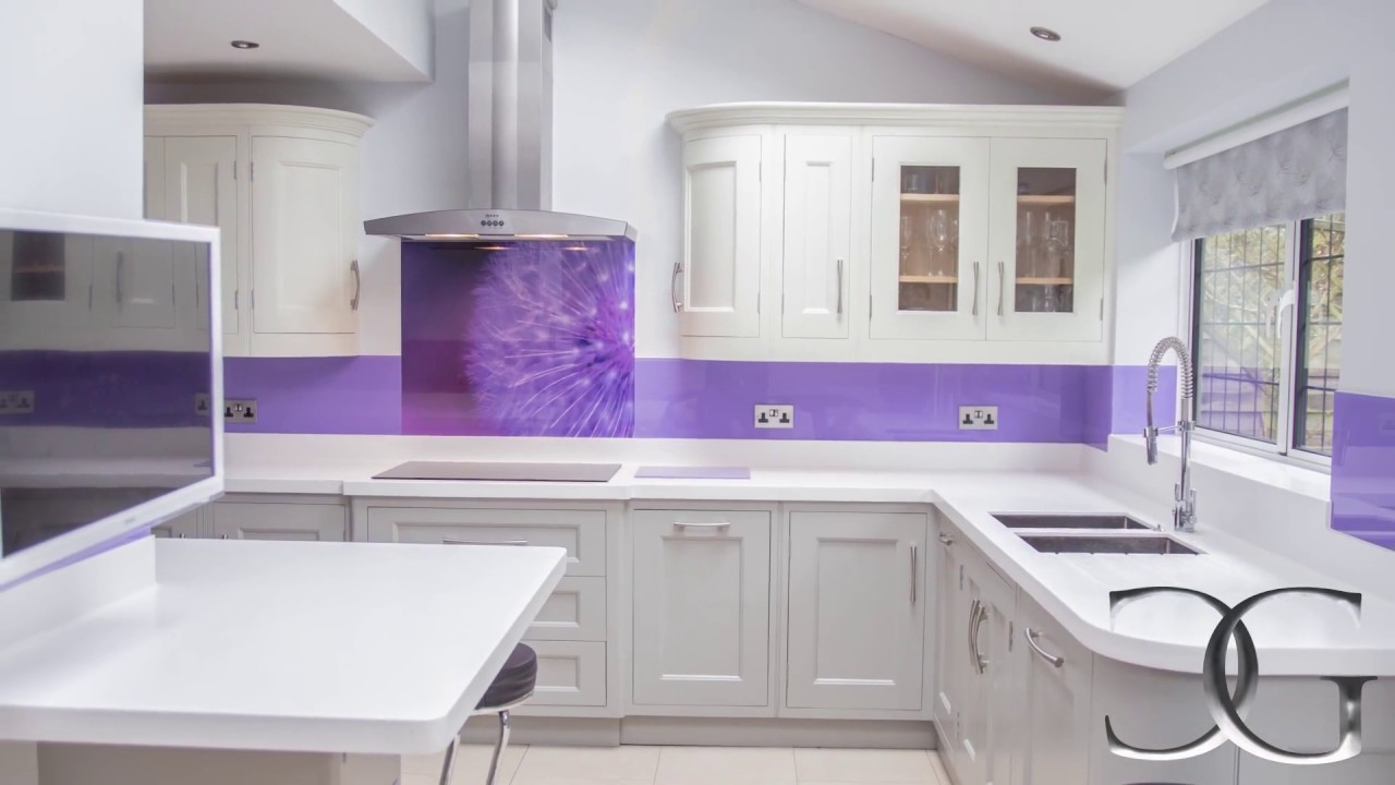 For Kitchen Splashbacks Purple Dandelion Printed Glass Kitchen Splashback Creoglass