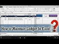 How to Maintain Ledger in Excel | Account/ Ledger Book Maintain in Excel