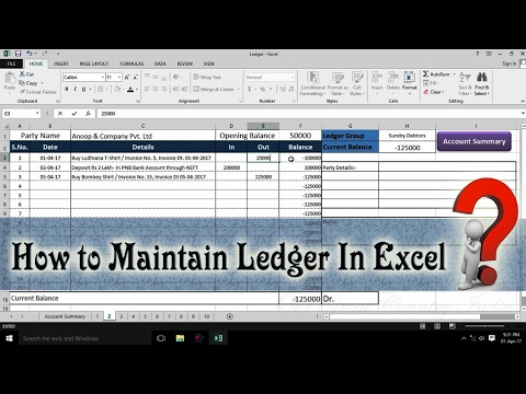 how to maintain ledger in excel account ledger book maintain in