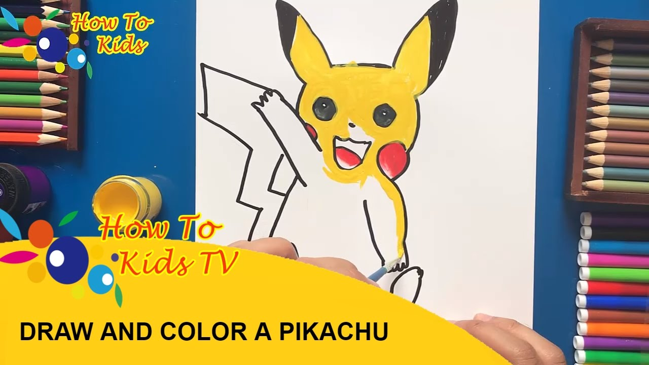 how to draw and color pikachu pokemon with water color teaching