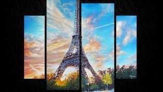 Timelapse painting of Eiffel Tower in memory of the Paris victims - use peace and intellec ...