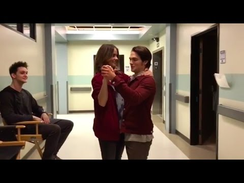 Shelley Hennig & Dylan Sprayberry dancing on the Teen Wolf set