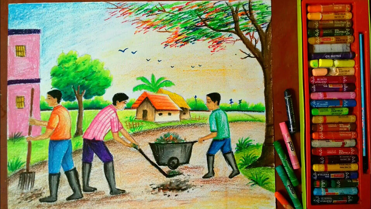 Swachh bharat abhiyan drawingparamparik bharat clean india drawing competition