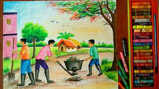 SWACHH BHARAT ABHIYAN DRAWING||PARAMPARIK BHARAT ||CLEAN INDIA DRAWING COMPETITION