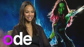 Zoe Saldana talks bodypaint and her love of Groot in Guardians of the Galaxy
