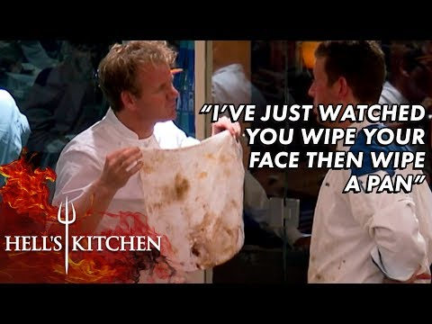 Gordon Catches Chef Using Dirty Rag To Clean Their Face & Pan | Hell's Kitchen