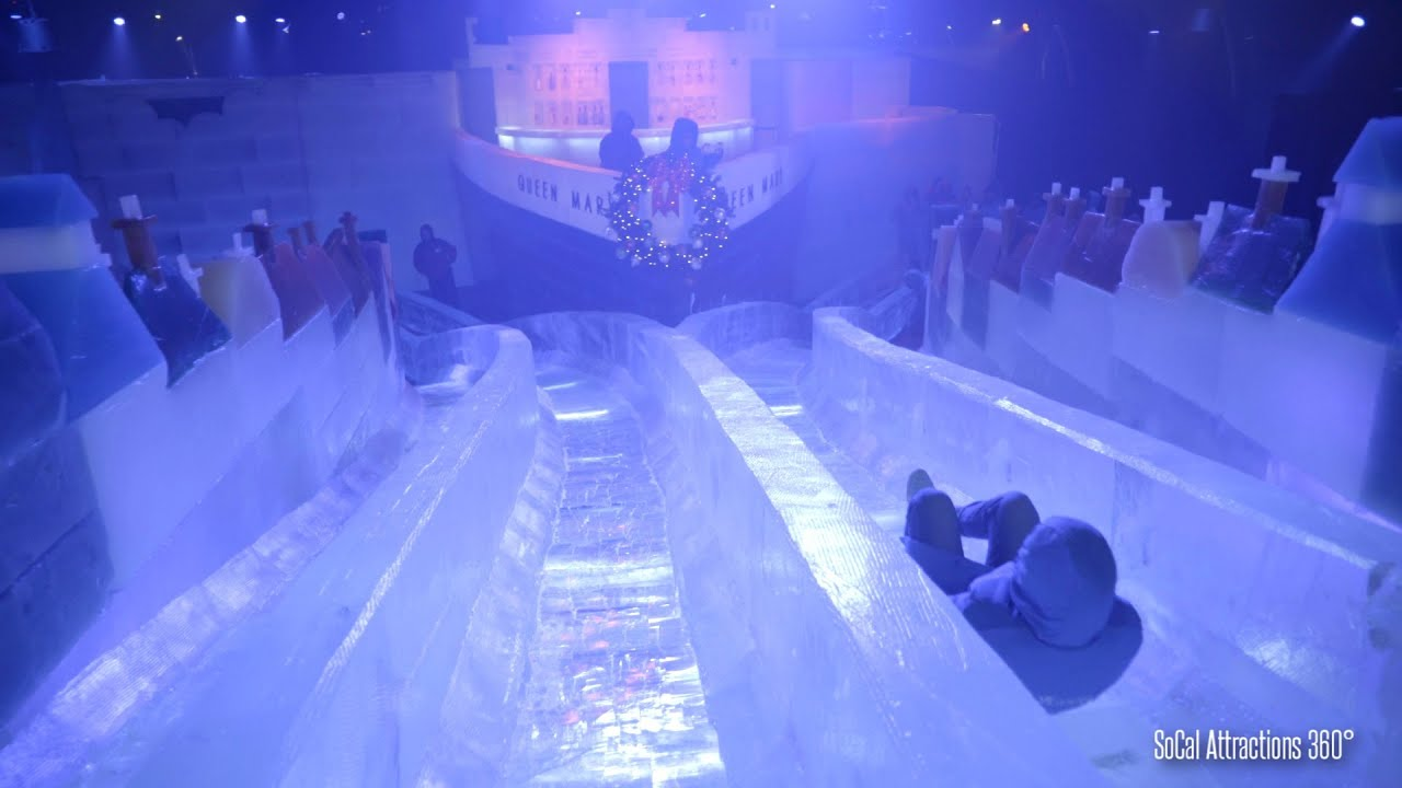 [4K] Sliding down an Ice Slide & Ice Tubing at Queen Mary ...