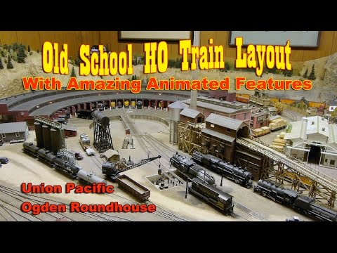 Train Layout Tour - The UP Roundhouse in Ogden Utah with Animated Features