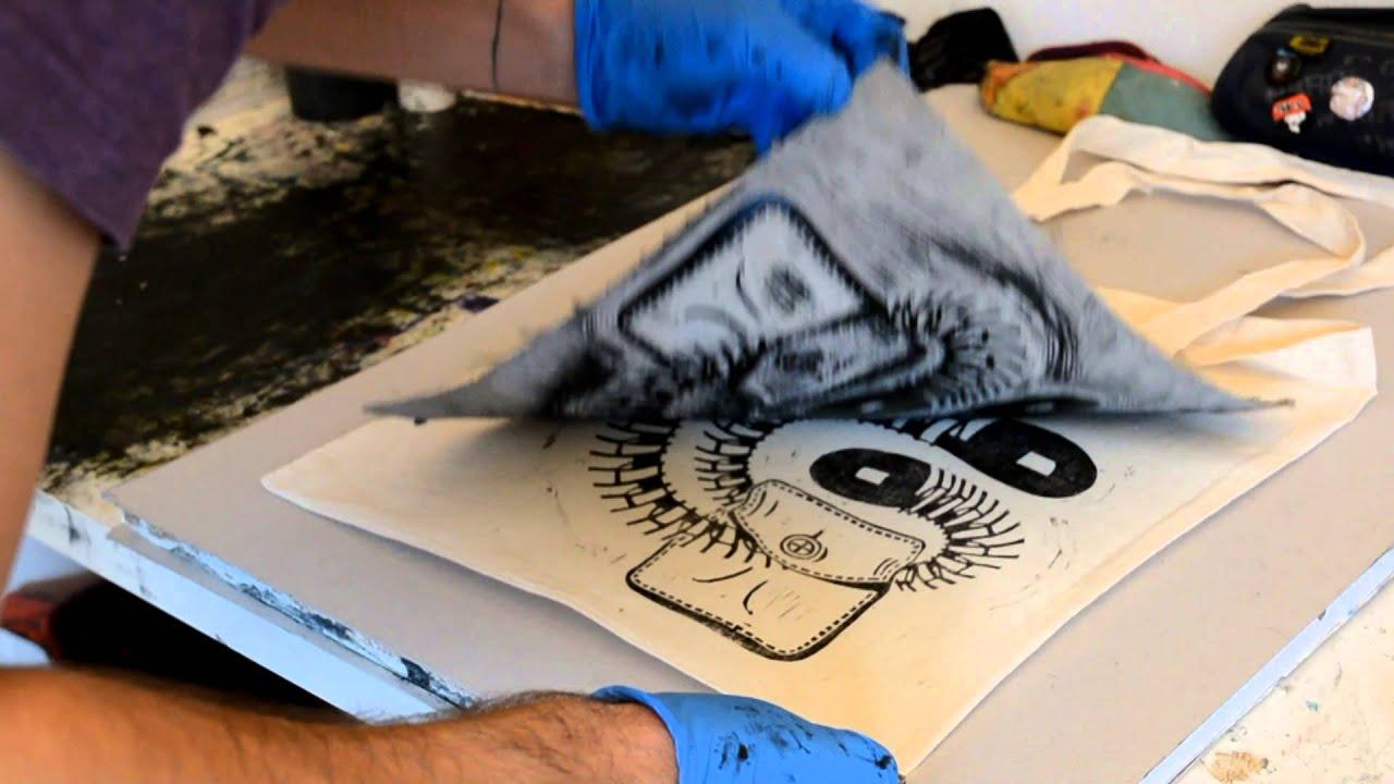 impression linogravure sur sac en coton par teratoiid youtube. Black Bedroom Furniture Sets. Home Design Ideas