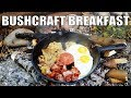 Bushcraft Breakfast Cooking at my Shelter Camp