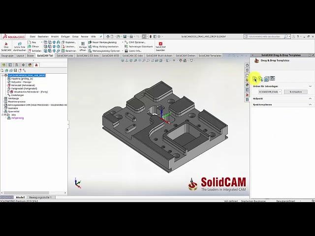 SolidCAM 2020 – Drag and Drop; Neue Navigation und Gruppierungen der Jobvorlagen