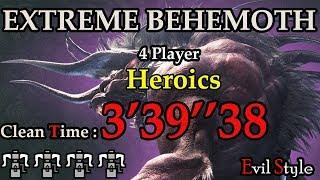 【MHWORLD】極ベヒーモス Extreme Behemoth 4 Players with Heroics 3'39
