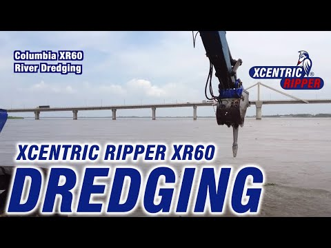 Hydraulic Dredging in river - Xcentric Ripper in Colombia -Breaker-
