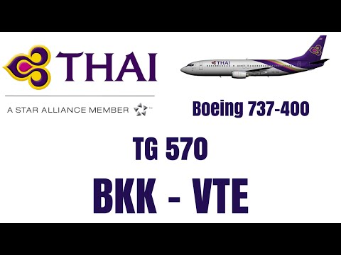 Thai Airways 737-400 | Economy Class | Bangkok To Vientiane TG 570 | 20th May 2015