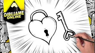 como desenhar um coração com uma chave | passo a passo | how to draw a heart