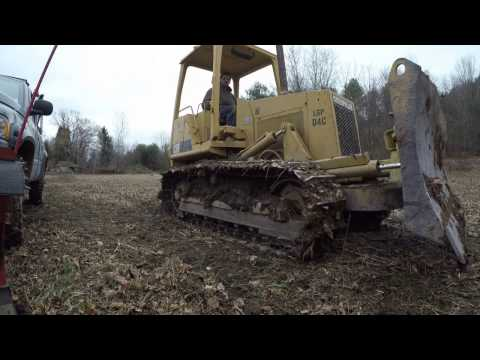 Clearing trees with bulldozer