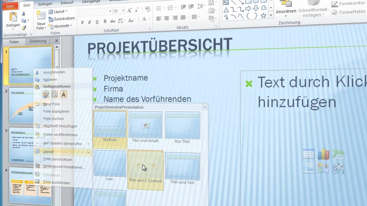 Powerpoint 2010 - Teil 2 - Vorlage erstellen - YouTube