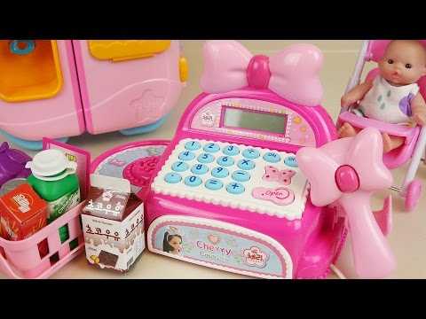 Thumbnail: Pink Mart register and Baby doll refrigerator toys play