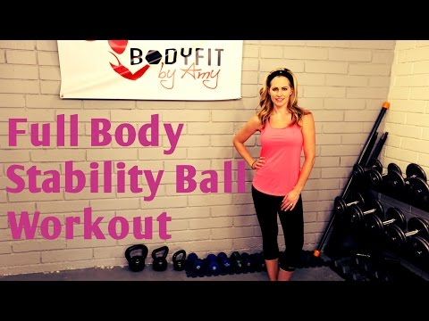 23 Minute Full Body Stability Ball Workout For Toning and Fat Burning