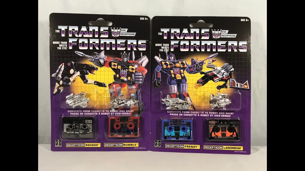 Transformers Vintage G1 Decepticon Cassette Frenzy Laserbeak Ravage Rumble PACK