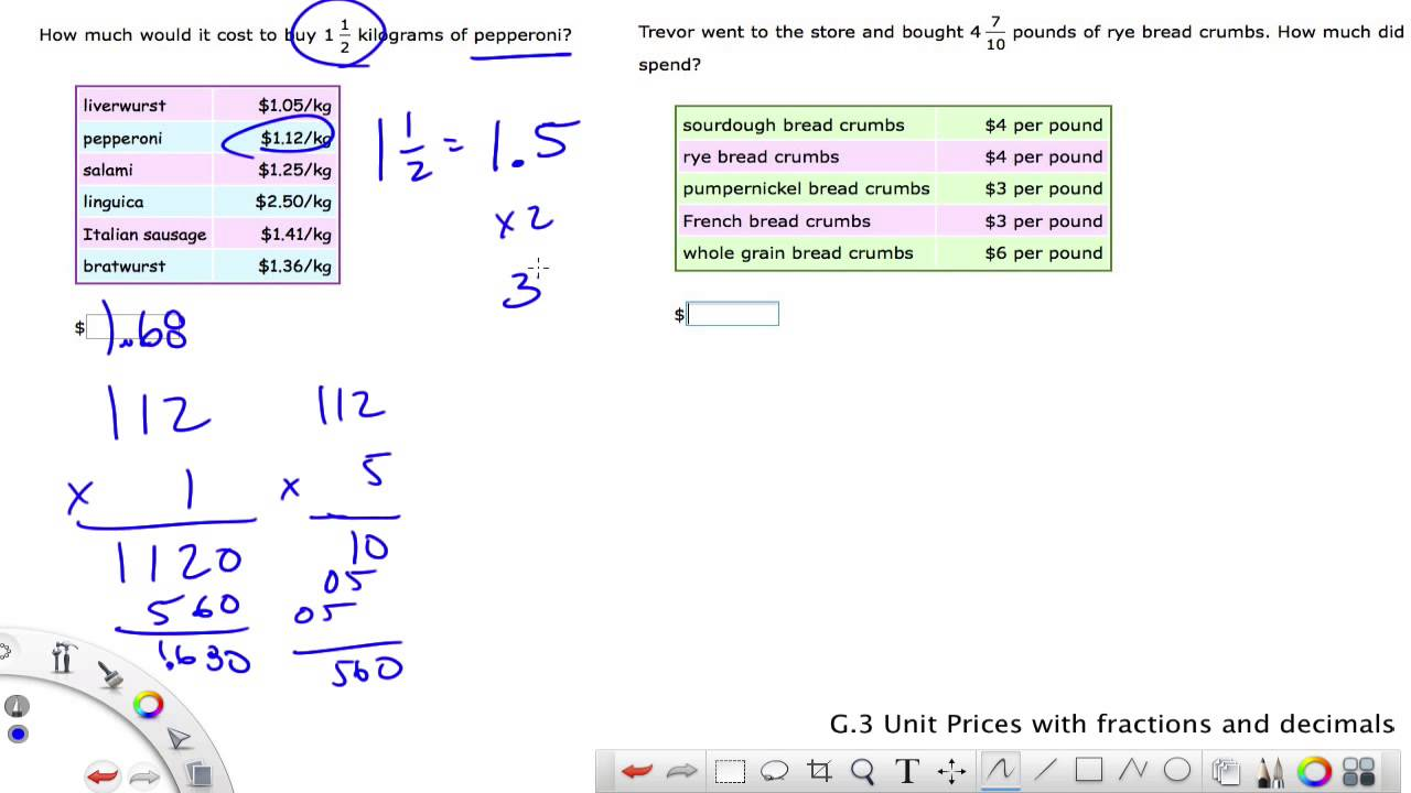 medium resolution of IXL Grade 6 G.3 Unit Prices with fractions and decimals - YouTube