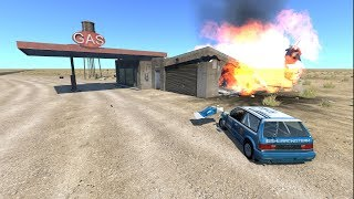 EXPLOSIVE! DESTROYABLE! Gas-Station - BeamNG.drive