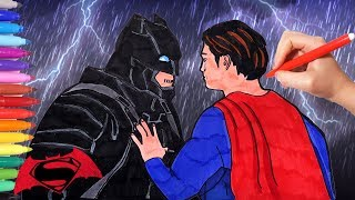 How to Draw and Color Batman Vs Superman | How to Draw Easy Superheroes | Watch and Learn