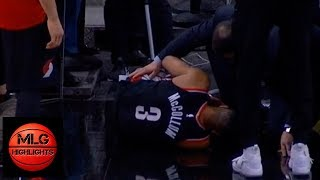 CJ McCollum leaves Spurs game with left leg injury | Blazers vs Spurs