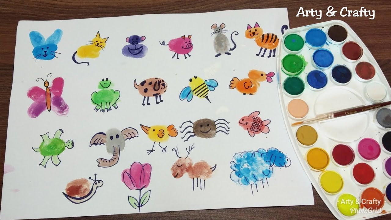 Finger Painting Art Easy Thumb Painting Animals Summer Fun Activities For Kids By Arty Crafty Youtube