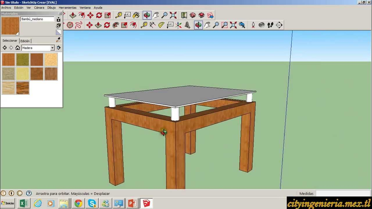 Sketchup 2013 2 mesa con superficie transparente youtube for Sketchup 2013