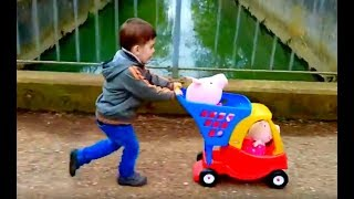 Playing with Little Tikes Cozy Coupe Shopping Cart