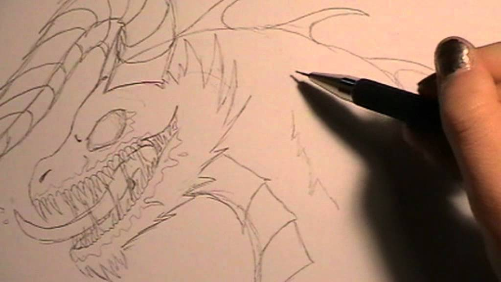 Tutorial Drawing A Zombie Dragon Zombiedrache Zeichnen Youtube