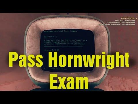"""The Motherlode"" Pass the Hornwright Senior Executive Exam Fallout 76"