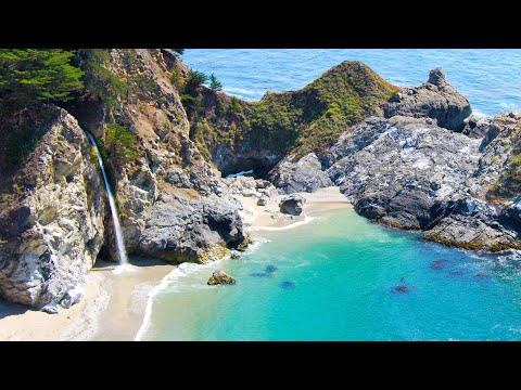 California Aerials - McWay Falls in Big Sur in 4K